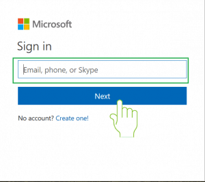 Enter Hotmail email account in sign in page