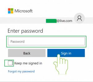 Password field for Hotmail.com login