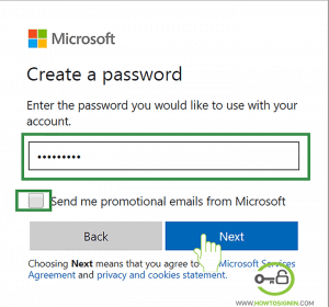 Choose password for New Hotmail account