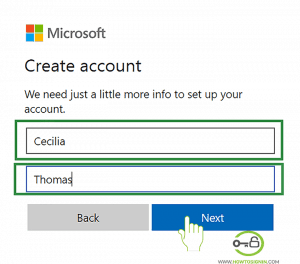 First and Last Name for Hotmail registration