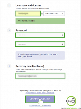 Protonmail sign up form