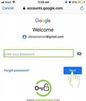 Enter Gmail account password