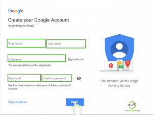Choose gmail username and password Gmail Sign up