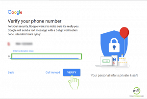 Gmail Sign Up Verification code