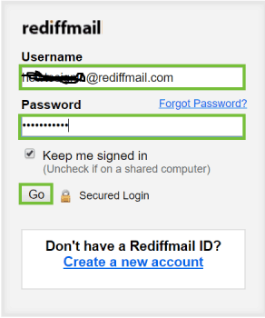 Rediffmail Log in