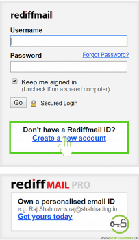 Create new account rediffmal