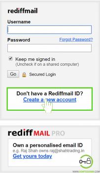 Create new account rediffmal