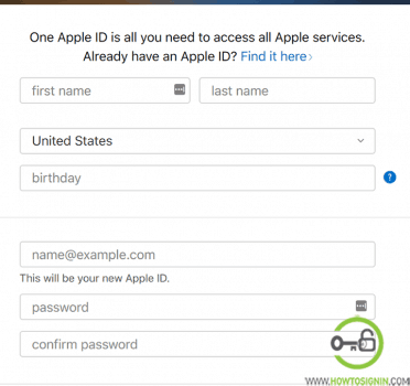 sign up for new apple id from web