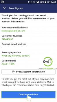 Create Mail.com account