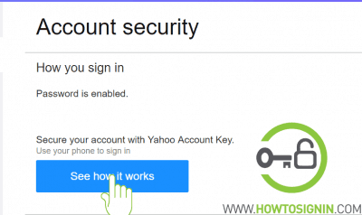 Yahoo account key for security