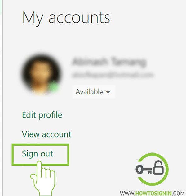 Hotmail sign out