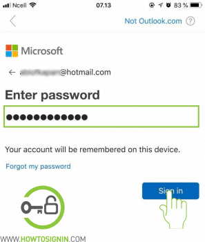 Outlook mobile password