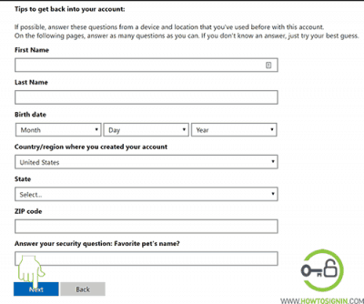microsoft account password rest form