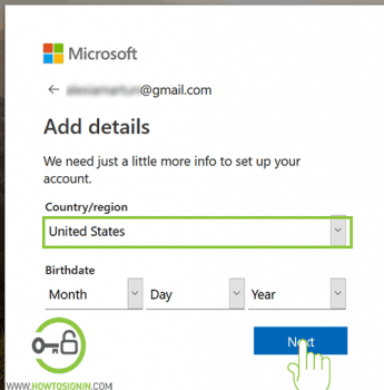 create microsoft account country