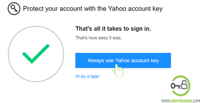 Yahoo account key always use