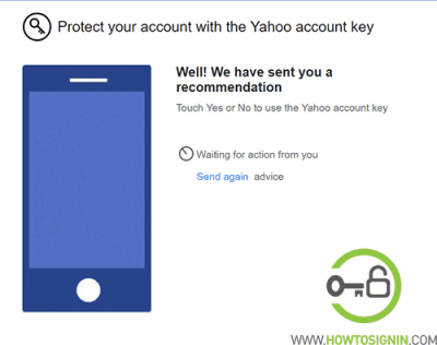 Yahoo security key notification