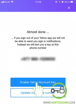 update number for yahoo account key