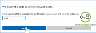 enter verification code to recover hotmail account