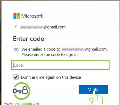 microsoft acccount verification code