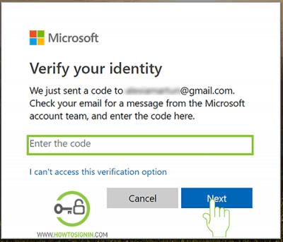 enter verfication code hotmail