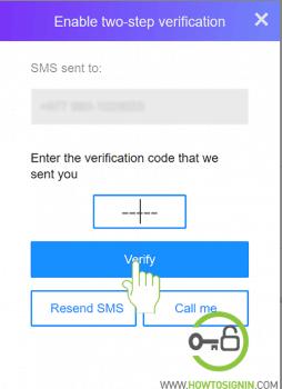 verify mobile for yahoo 2 step verification