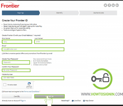 Frontier sign up form