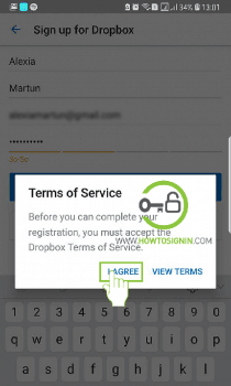 accept terms and conditions of dropbox