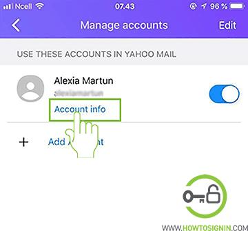 yahoo account password iphone