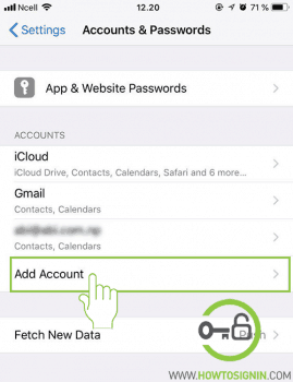 add account in iphone