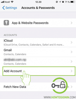 add account in iphone setting