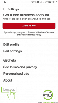pinterest sign out