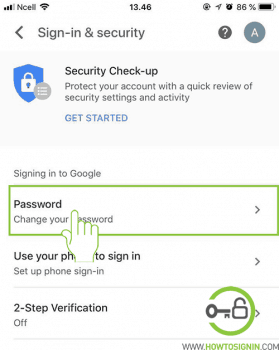 change your gmail password from mobile app