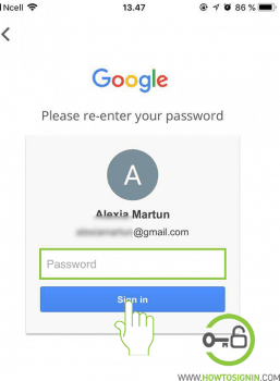 enter current gmail password