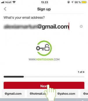 email address pinterest sign up