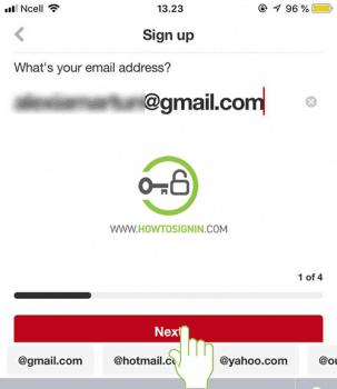 email address pinterest sign up