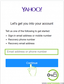 Enter yahoomail email