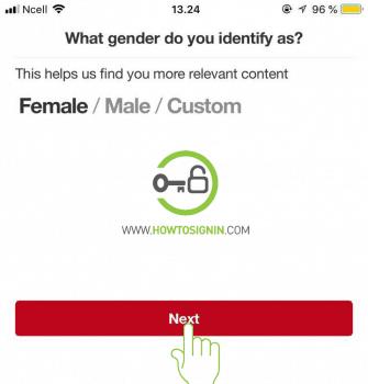 provide gender for pinterest sign up