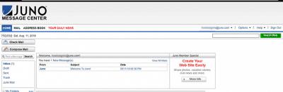 Juno Webmail inbox