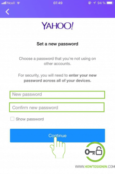 choose your new yahoo password