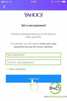 choose your new yahoo password