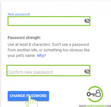 enter new password for gmail