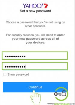 New Yahoo Password