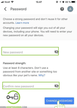 enter your new gmail password