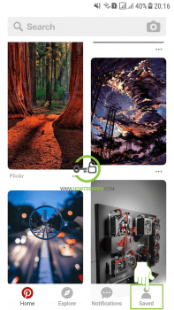 pinterest log out android iphone