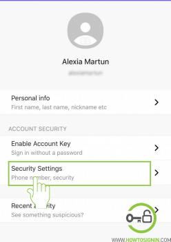 Yahoo Security settings iPhone