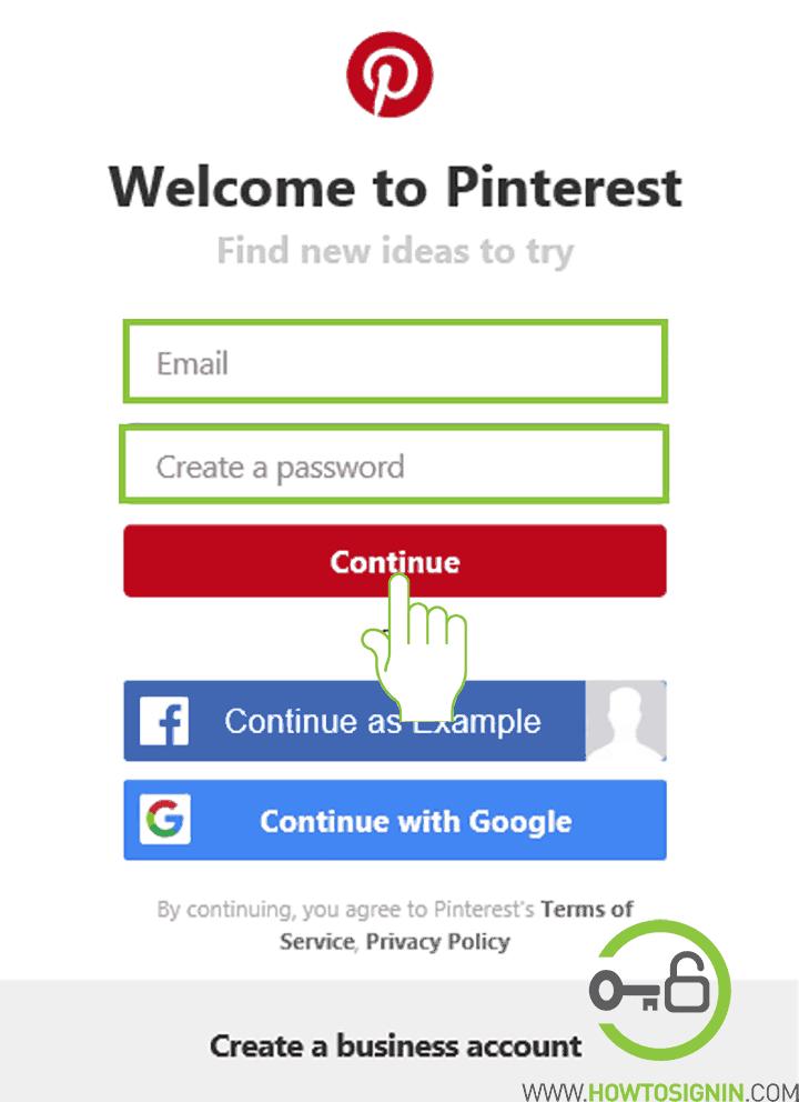 Pinterest sign up