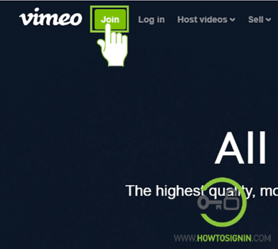 Vimeo sign up page