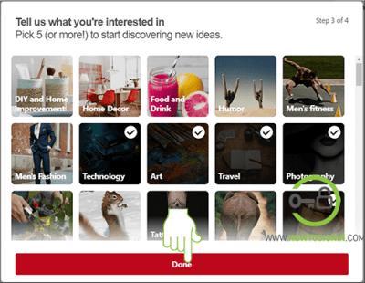 Pinterest new account created