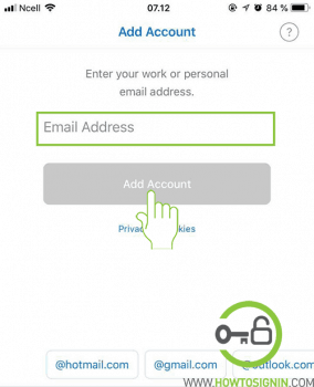 add account on hotmail mobile app
