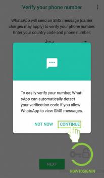 verify via sms whatsapp sign up